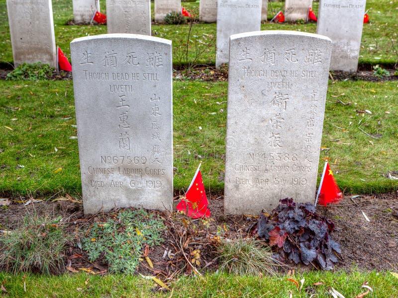 Chinese WWI-grafstenen bij Lijssenhoek-Begraafplaats, de Gebieden van Vlaanderen royalty-vrije stock foto's