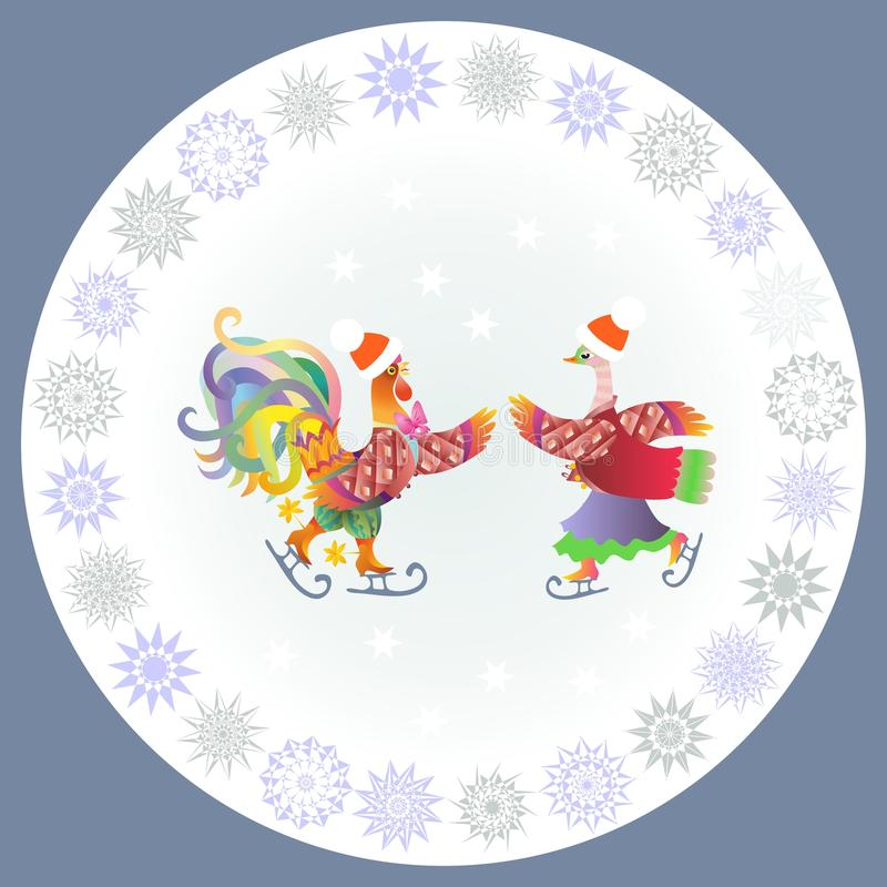 Download Chinese Year Of The Rooster. Decorative Plate With Cockerel And Duck Stock Vector -  sc 1 st  Dreamstime.com & Chinese Year Of The Rooster. Decorative Plate With Cockerel And Duck ...