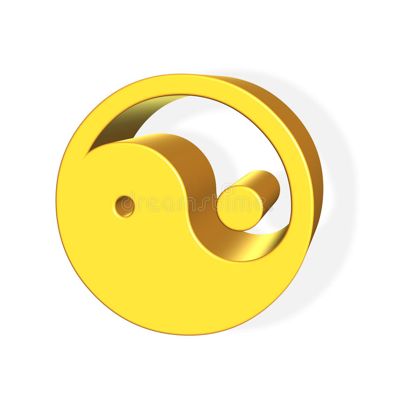 Chinese Yin and Yang simbol rendered from 3D. Over white background royalty free illustration