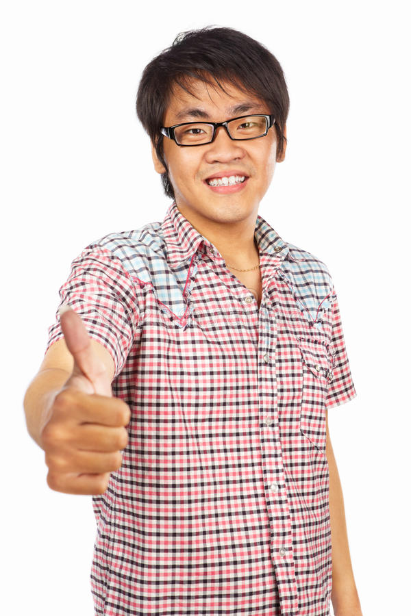 Download Chinese Young Adult With Thumb Up Stock Photo - Image of young, good: 20483434