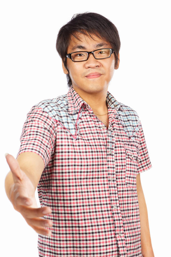 Chinese Young Adult Welcoming Royalty Free Stock Photography
