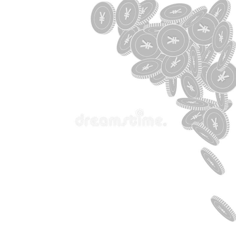 Chinese yuan coins falling. Scattered black and wh. Ite CNY big coins. Jackpot or success concept. Valuable top right corner vector illustration vector illustration