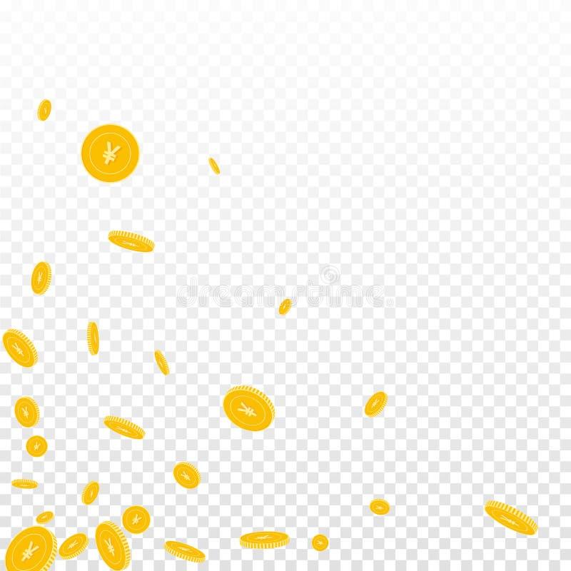 Chinese yuan coins falling. Scattered disorderly C. NY coins on transparent background. Resplendent scattered bottom left corner vector illustration. Jackpot or vector illustration