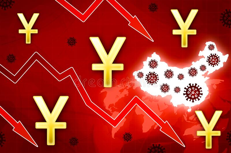 Chinese yuan epidemic crisis in China - concept news background. Illustration vector illustration