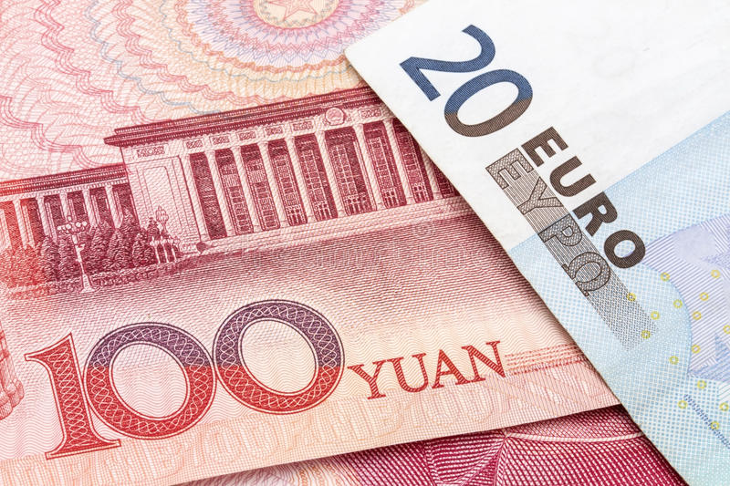 Chinese Yuan and EURO stock photo