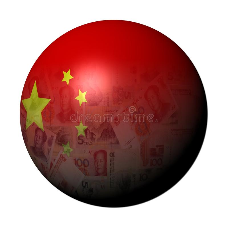 Chinese Yuan Flag Sphere Stock Image