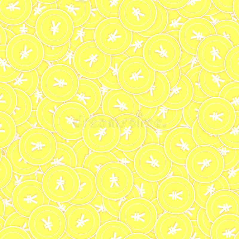 Chinese yuan gold coins seamless pattern. Graceful vector illustration