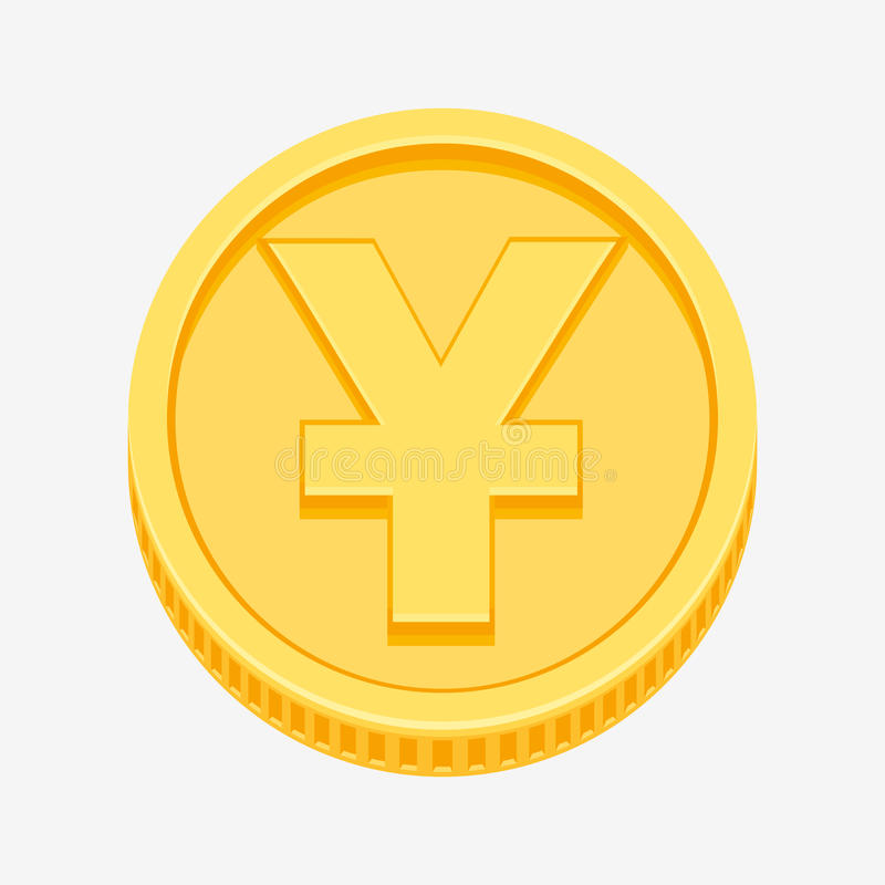Chinese Yuan Or Japanese Yen Symbol On Gold Coin Stock Vector