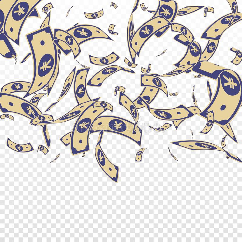 Chinese yuan notes falling. Random CNY bills on tr. Ansparent background. China money. Elegant vector illustration. Noteworthy jackpot, wealth or success concept royalty free illustration