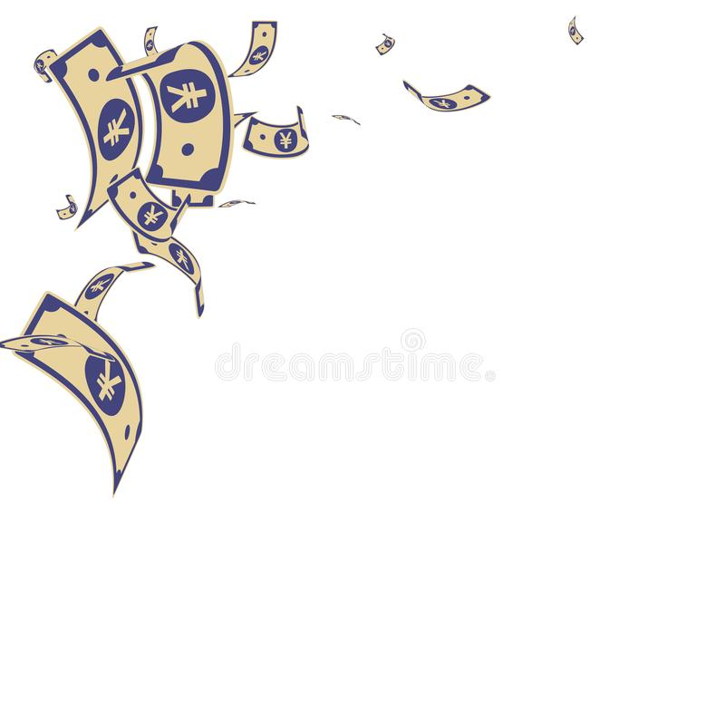 Chinese yuan notes falling. Random CNY bills on wh. Ite background. China money. Elegant vector illustration. Rare jackpot, wealth or success concept vector illustration