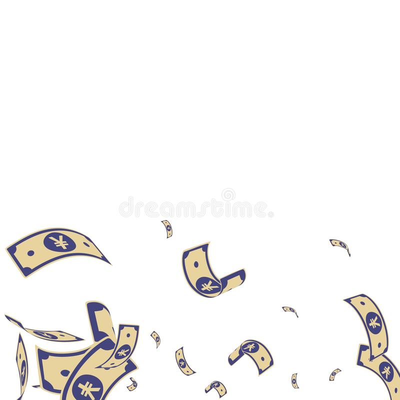 Chinese yuan notes falling. Random CNY bills on wh. Ite background. China money. Ecstatic vector illustration. Fresh jackpot, wealth or success concept vector illustration