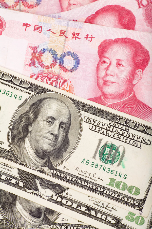 Chinese Yuan And Us Dollar Royalty Free Stock Image