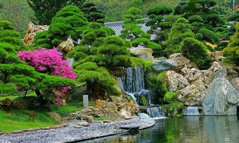 Chinese zen garden with water fall and cascade plants for Zen garden waterfall