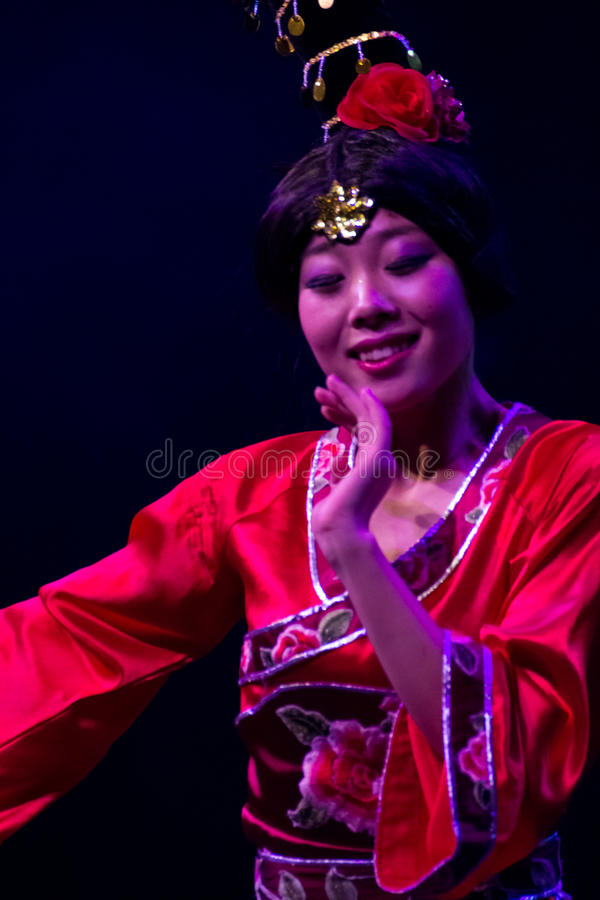Chinese dancers. Zhuhai Han Sheng Art Troupe. royalty free stock photography