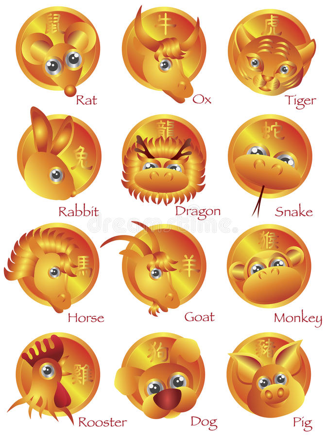 Chinese Zodiac 12 Animals in Gold Circle stock illustration