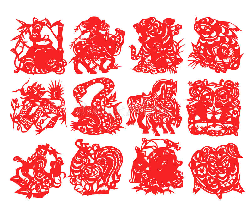 Chinese Zodiac. Traditional Chinese culture, paper-cut art