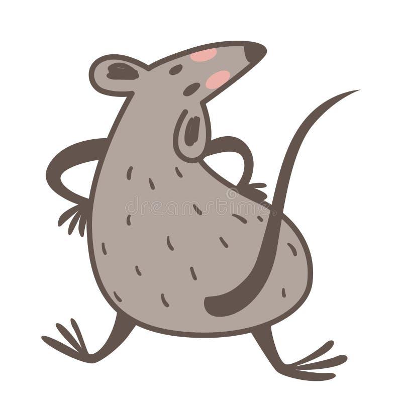 Chinese zodiac animal, rat as 2020 New Year symbol vector illustration