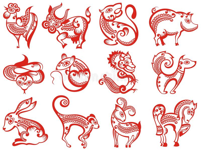 Chinese zodiac animals in paper cut style vector illustration