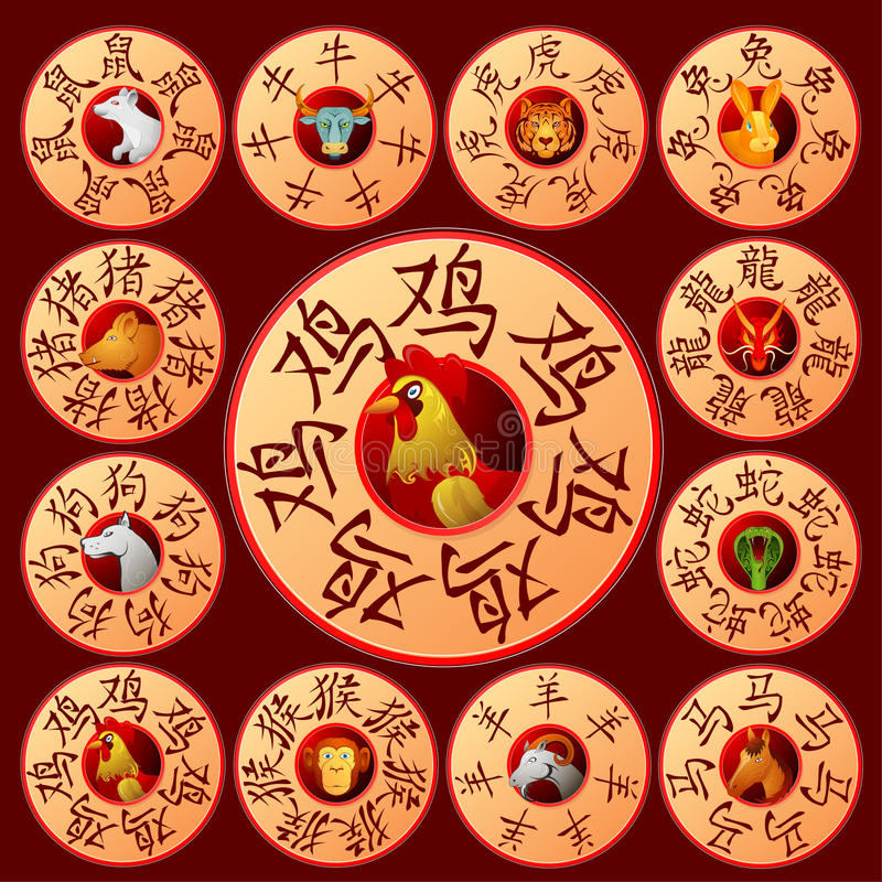 Chinese zodiac emblems with cartoon animals royalty free illustration