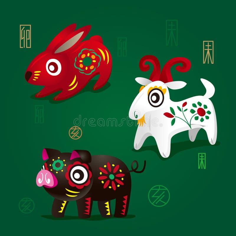 Free Chinese Zodiac Mascots: Rabbit, Ram And Pig Stock Photos - 30178313