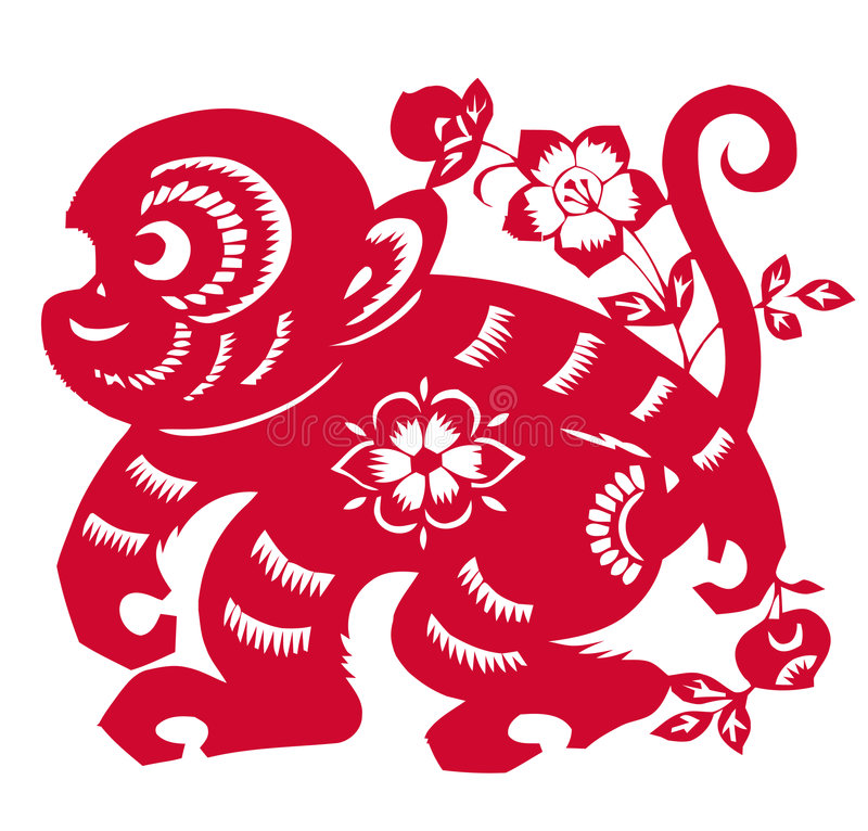 Chinese Zodiac of monkey year. Traditional Chinese culture, paper-cut art, red monkey with peach