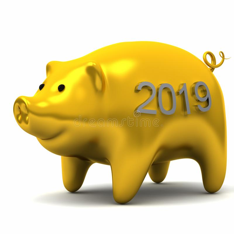 Chinese zodiac New Year yellow pig royalty free stock photo
