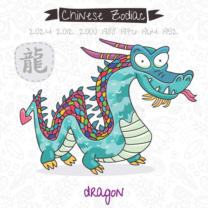 Chinese Zodiac. Sign Dragon. Vector illustration royalty free illustration