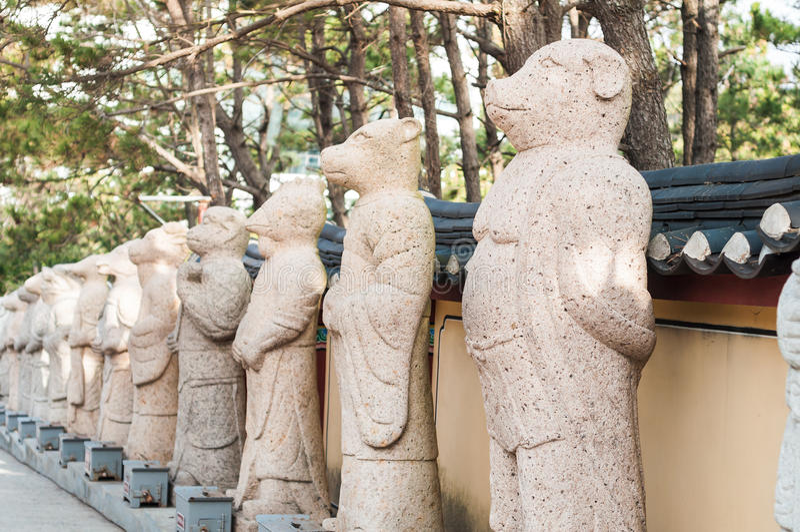 Chinese zodiac sign statue. At Haedong Yonggungsa temple stock photos