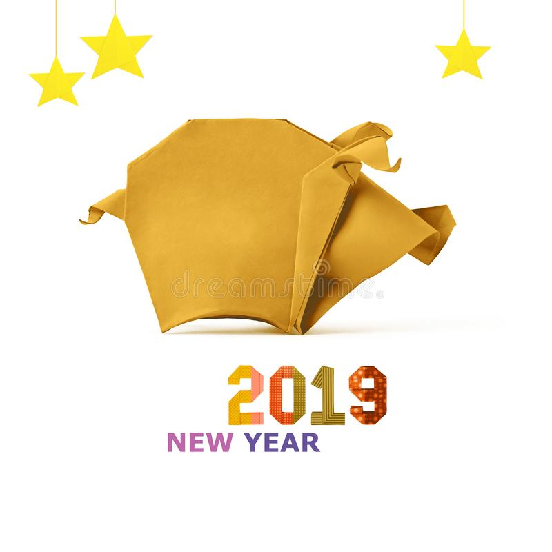 Chinese Zodiac Sign Year of Pig, paper cut pig,Happy Chinese New Year 2019 year of the pig. Chinese Zodiac Sign Year of Pig yellow paper cut pig,Happy Chinese stock image