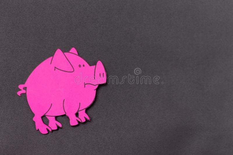 Chinese Zodiac Sign Year of Pig, Pink paper cut pig,Happy New Year 2019 year. Black background. Chinese Zodiac Sign Year of Pig, Pink paper cut pig,Happy New royalty free stock images