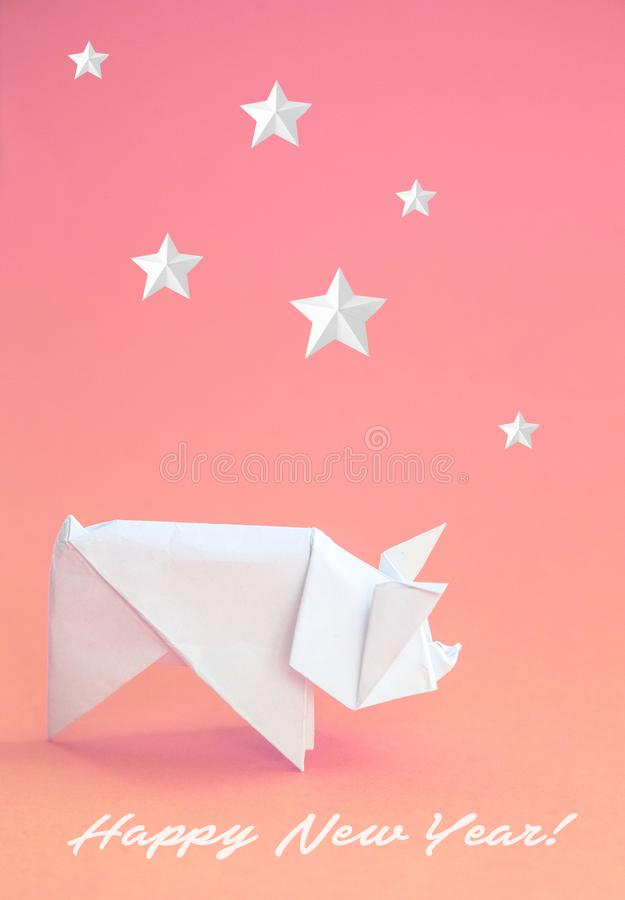 Chinese Zodiac Sign Year of Pig, White paper cut pig, Happy New Year 2019 year. Free space for text. Minimalism gradient. Background stock photo