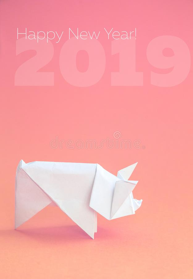 Chinese Zodiac Sign Year of Pig, White paper cut pig, Happy New Year 2019 year. Free space for text. Minimalism gradient. Background stock image