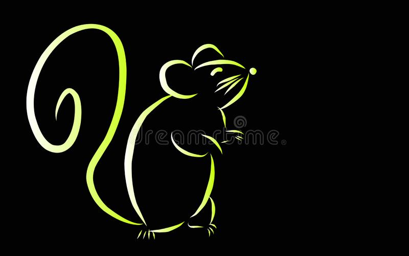 Chinese Zodiac Sign Year of Rat,Red paper cut rat,Happy Chinese New Year 2020year of the rat stock illustration