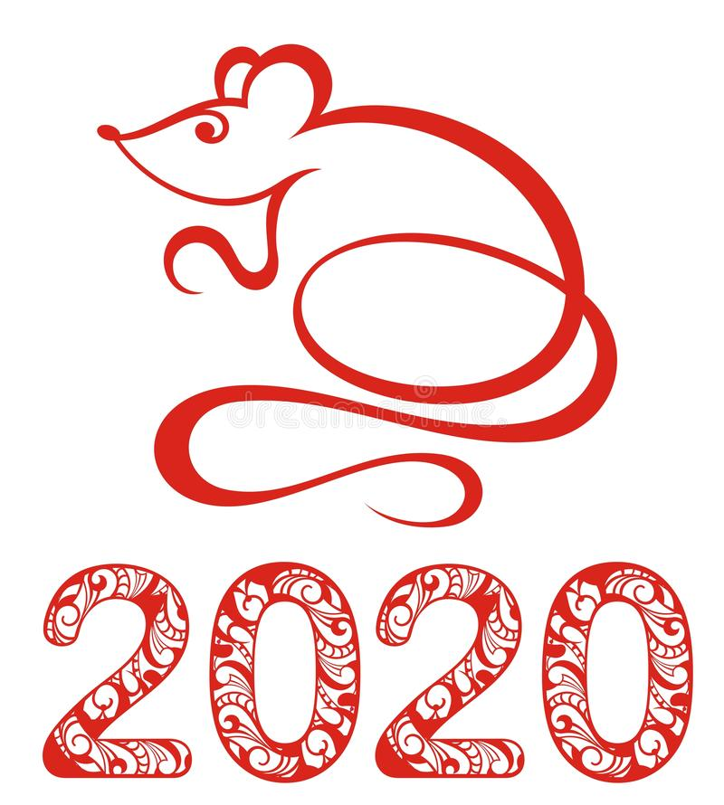 Vector Chinese Zodiac Sign Year of Rat vector illustration