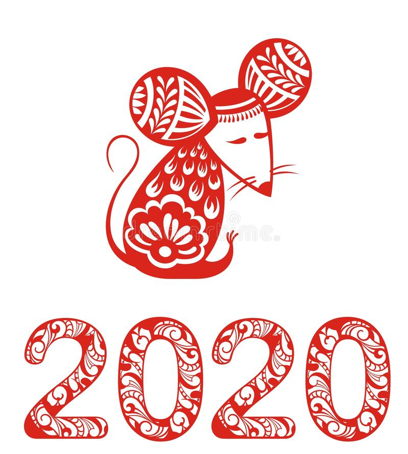 2020 Chinese New Year greeting card with rat silhouette royalty free stock photos
