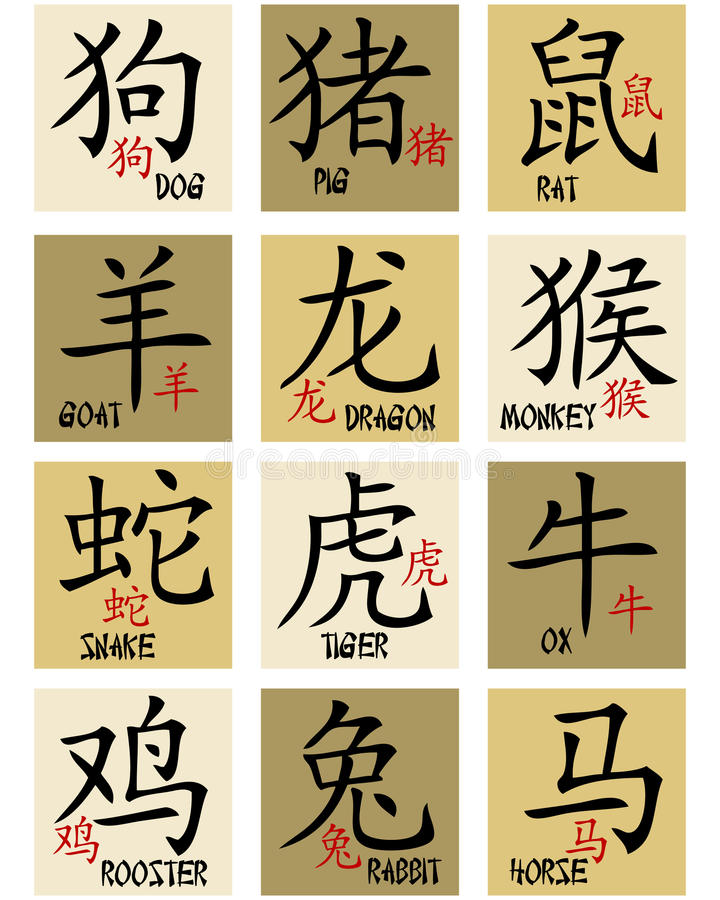 Chinese zodiac signs. Collection of chinese zodiac symbols