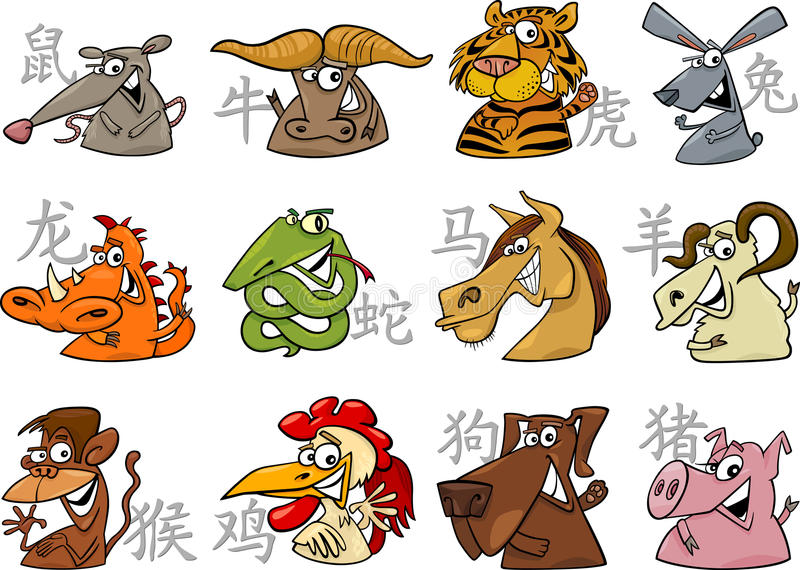 Chinese zodiac signs vector illustration