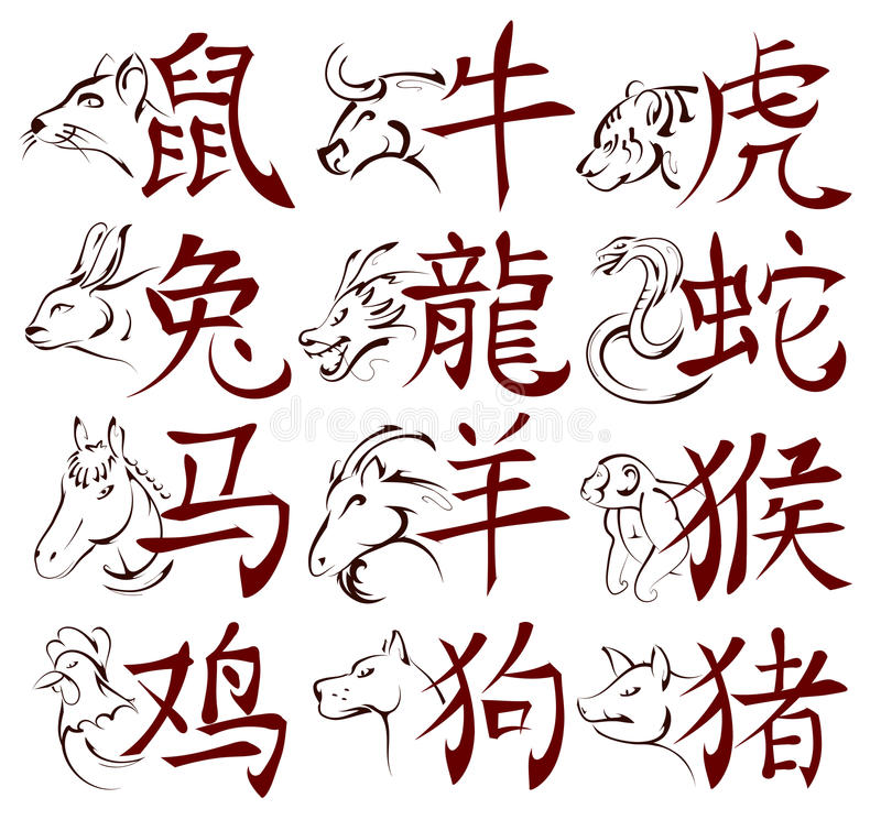 Chinese zodiac signs with hieroglyphs stock illustration
