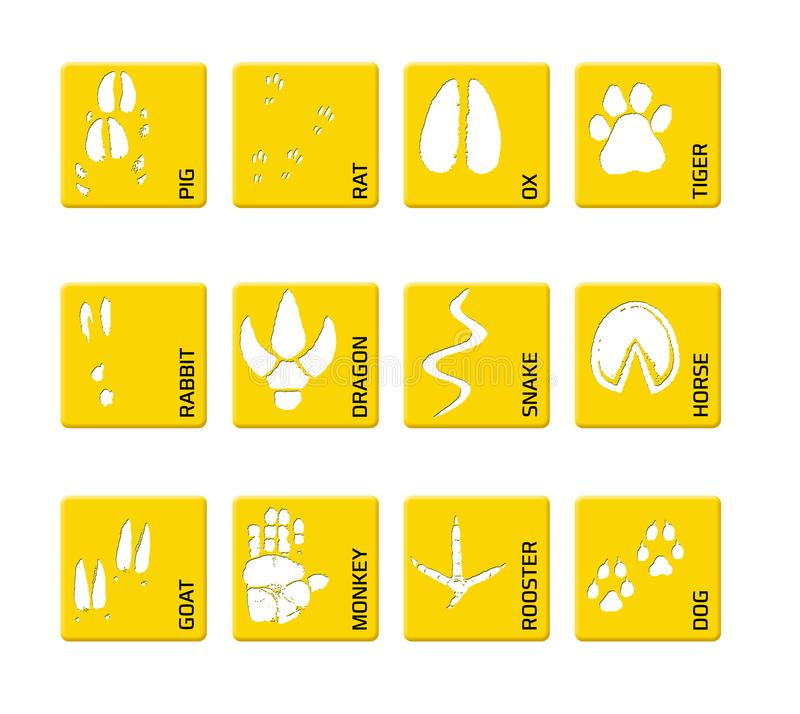 Chinese zodiac signs icons set on on a yellow square background. Paw prints marks , footprints of rat, mouse, snake, dragon, pig, royalty free illustration