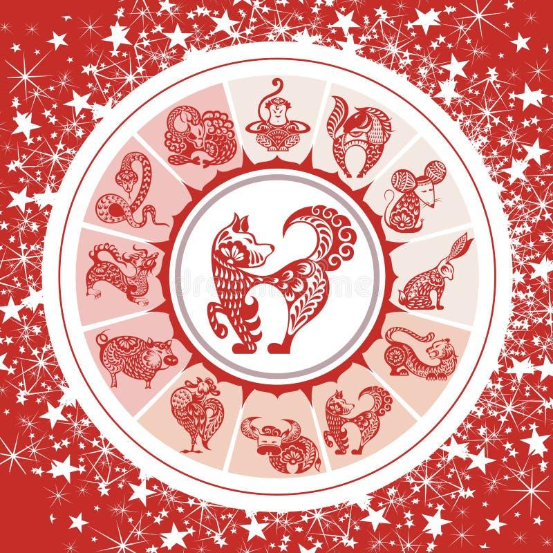 Chinese Zodiac wheel with 12 Animal symbols stock illustration