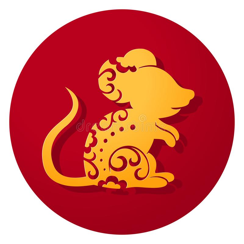 Chinese Zodiac Year of the Rat. Papercut mouse vector illustration royalty free illustration