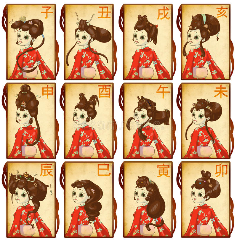 Chinese Zodiacal Cards Royalty Free Stock Photography