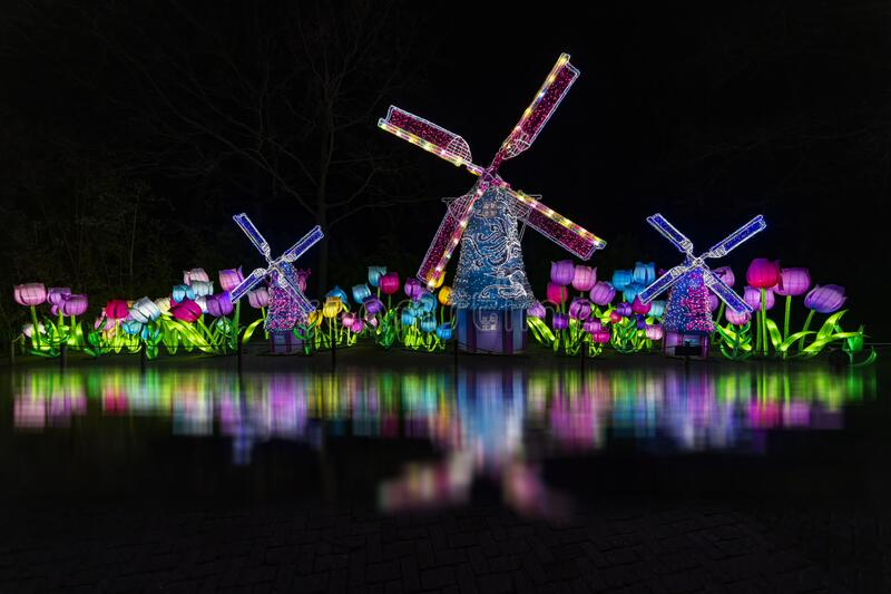 Chineses illumination. Depicting Dutch landscape, reflection in the dark night stock images