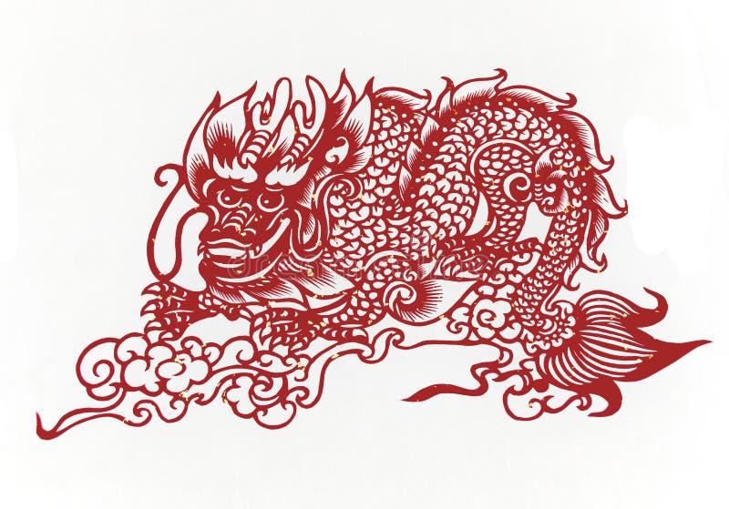 Chinesisch-Drache, Papierausschnitt Chinese-Tierkreis. lizenzfreie stockbilder