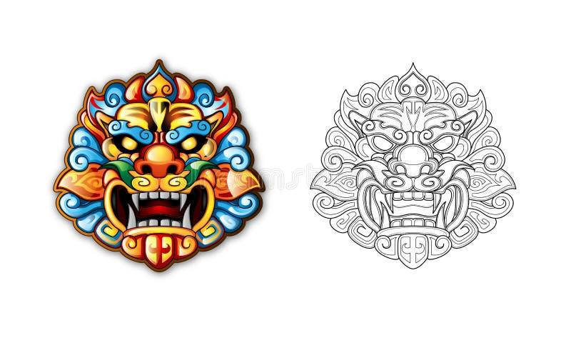 Chinesische alte Art-Tiger-Schablone stock abbildung