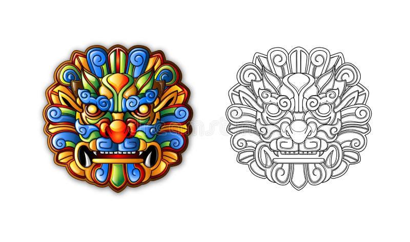 Chinesische alte Art-Tiger-Schablone lizenzfreie abbildung