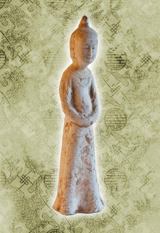 Chinesische alte Frauenstatue - Zapfendynastie stockbilder