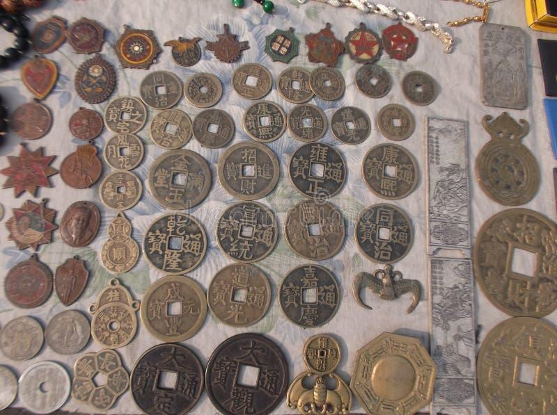 Chinesische alte Münzen stockbild