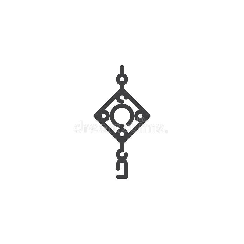 Chinesische Amulettlinie Ikone stock abbildung