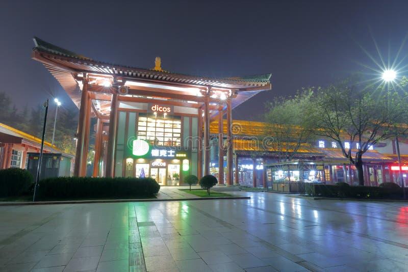 Chinesische Art dicos Restaurantnachtsichtgerät, luftgetrockneter Ziegelstein rgb lizenzfreie stockfotografie